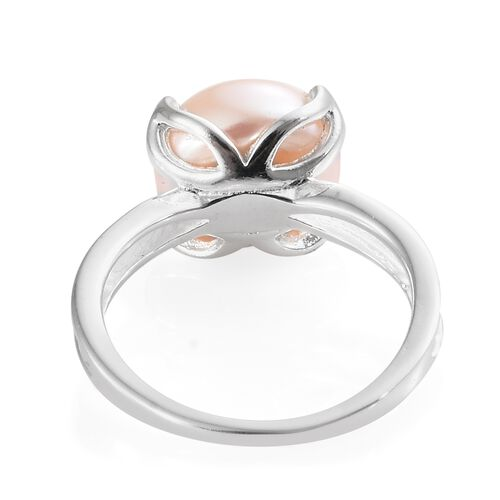 Rare Size Freshwater Pink Pearl (Rnd 10mm) Solitaire Ring in Sterling Silver
