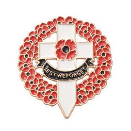 TJC Poppy Design - Enamelled Wreath Poppy Brooch with Cross