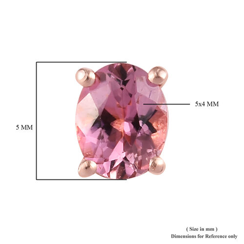 Pink Tourmaline Stud Earrings in Rose Gold Overlay Sterling Silver 0.75 Ct.