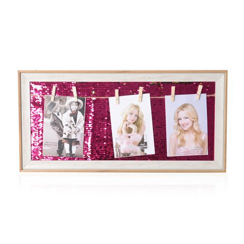 Photo Frame with Double Sided Sequin Background (Size 49x24 Cm) - Colour White Wood, Rose Pink and G
