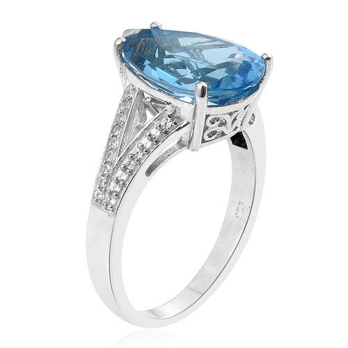 Marambaia Topaz (Pear), Natural Cambodian Zircon Ring in Platinum Overlay Sterling Silver 9.750 Ct.