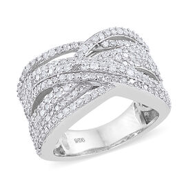 1.01 Ct Diamond Criss Cross Ring in Sterling Silver 6 Grams