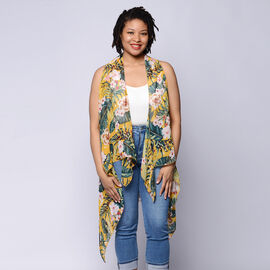 Leaf & Floral Print Sleeveless Kimono in Mustard and Green (Size 43x90cm)
