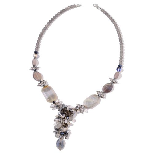Grey Agate,Simulated Grey Pearl and Multi Colour Beads Necklace (Size 29 with 2.50 inch Extender) in Silver Plated