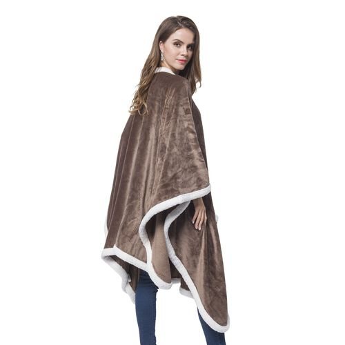 Italian Designer Inspired-Chocolate and White Colour Microfiber Flannel Wrap with Sherpa Border (Size 140X90 Cm)