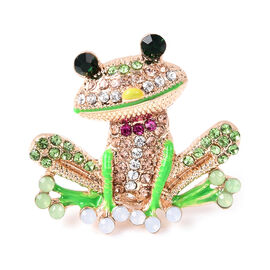 Multi Colour Austrian Crystal Enamelled Frog Brooch in Gold Tone