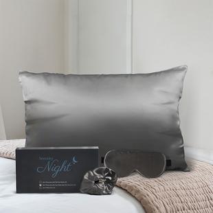 100% Mulberry Silk Front Side- Set of Pillowcase, Eye Mask, Scrunchie (Size 23.5x10.5cm) - Dark Grey