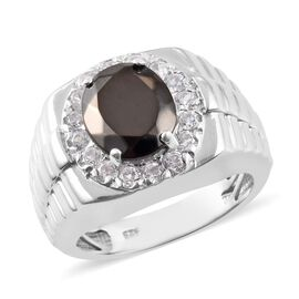 2.15 Ct Elite Shungite and Zircon Halo Ring in Platinum Plated Sterling Silver