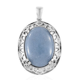 Mexican Angelite (Ovl) Pendant in Ion Plated Stainless Steel 17.500  Ct.