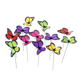 Set of 12 - Decorative Butterfly Stakes (Height 32cm) - Purple, Red and Multi Colour