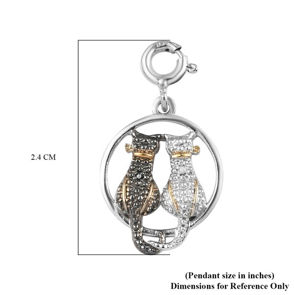Black and White Diamond (Rnd) Twin Cat Charm in Platinum Overlay Sterling Silver with Black and Yellow Gold Plating