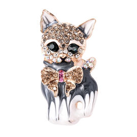 Multi Colour Austrian Crystal Enamelled Cat Brooch in Gold Tone