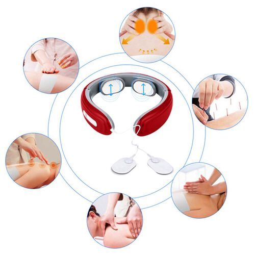 Intelligent Portable Neck Massager with Electrode Patch (Size 15x14x5 Cm) - Red and Grey