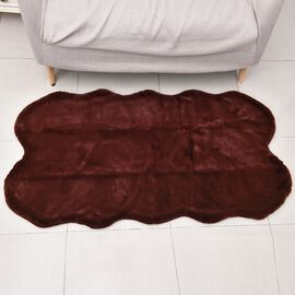 Super Auction - Luxuriously Soft Faux Fur Rug in Bordeaux Colour (Size 100x180 Cm - 70 x 39 inches)