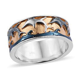Yellow Gold, Platinum and Black Overlay Sterling Silver Dolphin Ring, Silver wt 5.6
