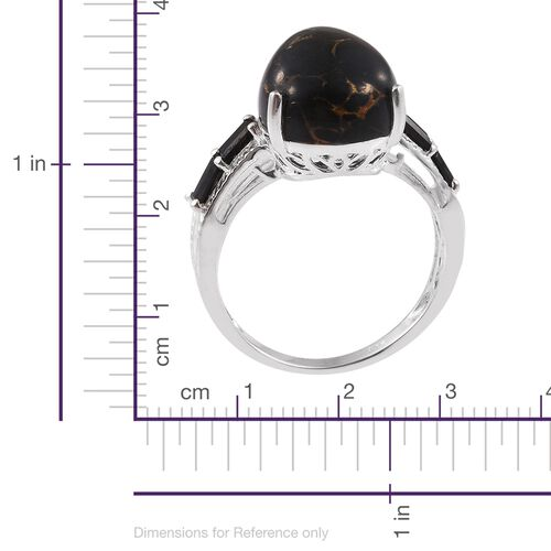 Arizona Mojave Black Turquoise (Pear 7.95 Ct), Boi Ploi Black Spinel Ring in Sterling Silver 8.500 Ct.