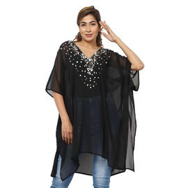Crystal-Embellished V-Neck Kaftan Top (One Size; L-90cm, W-74cm) - Black
