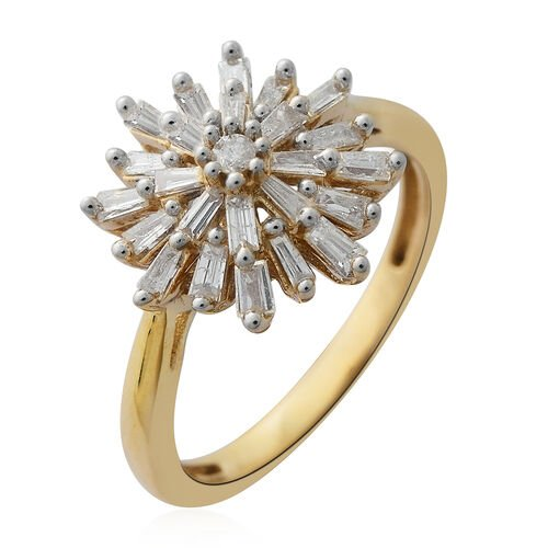 Limited Edition- 9K Yellow Gold Fire Cracker SGL Certified Diamond (Bgt) (I3/G-H) Floral Ring 0.500 Ct.