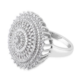 1.25 Carat Diamond Cluster Ring in Platinum Plated Sterling Silver 9.8 Grams