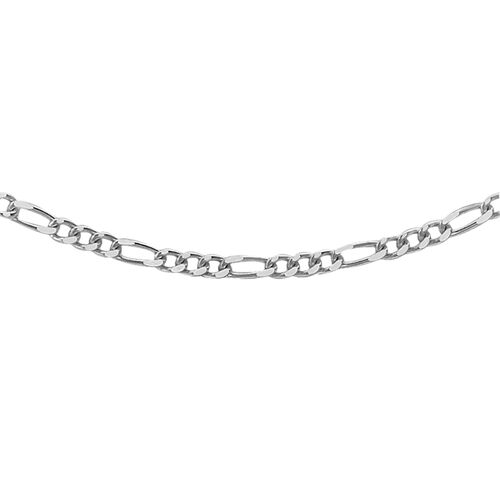 JCK Vegas Collection Silver Figaro Necklace with Rhodium Plating (Size 20), Silver wt 66.00 Gms.