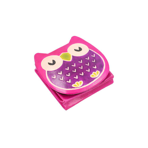 SUKRITI 100% Genuine Leather Sleeping Owl Coin Pouch (7x8cm) - Black, Pink and Green