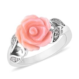 Pink Mother of Pearl (2.75 Ct),White Zircon Sterling Silver Ring  2.830  Ct.