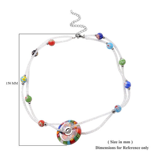 Multi Colour Murano Glass and Simulated Diamond Beads Necklace (Size 20 with 4 inch Extender) in Stainless Steel