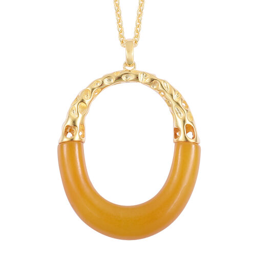 RACHEL GALLEY Goddess Honey Burmese Jade Pendant with Chain (Size 30) in Yellow Gold Overlay Sterling Silver 29.922 Ct. Silver wt 9.93 Gms.