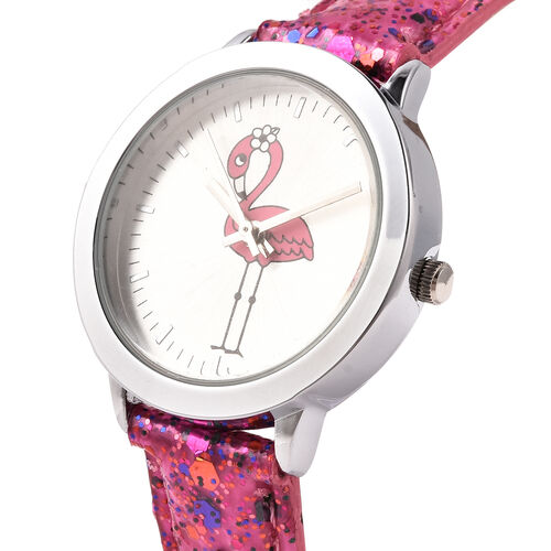 2 Piece Set - STRADA Japanese Movement Flamingo Pattern Water Resistant Watch with Pink Strap and Flamingo Key Chain in Silver Tone