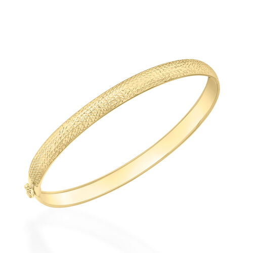 9K Yellow Gold Diamond Cut Bangle (Size 7)
