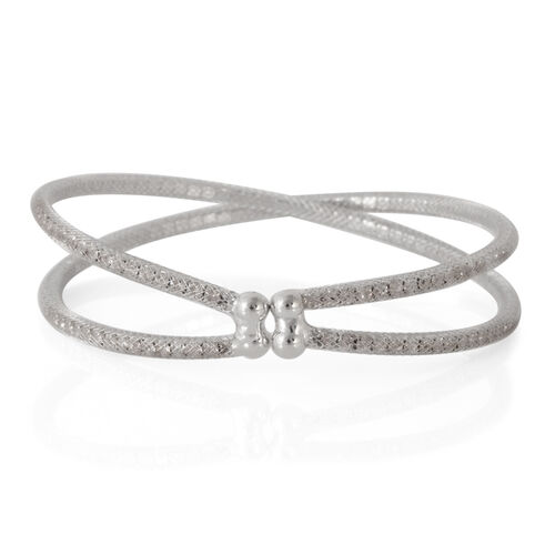 Austrian Crystal Criss Cross Bangle (Size 7.5) in Silver Bond