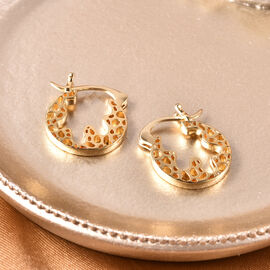 RACHEL GALLEY Yellow Gold Overlay Sterling Silver Latticework Hoop Earrings (with Clasp)