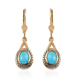 Arizona Sleeping Beauty Turquoise (Ovl) Lever Back Earrings in Platinum and Yellow Gold Overlay Ster