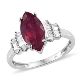 9K White Gold AA African Ruby (Mrq), Diamond Ring 2.500 Ct.