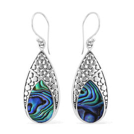 Royal Bali Collection Abalone Shell (Pear) Drop Hook Earrings in Sterling Silver