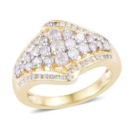 9K Yellow Gold SGL Certified Diamond (Rnd) (I2-I3/ G-H) Cluster Ring 1.001 Ct.
