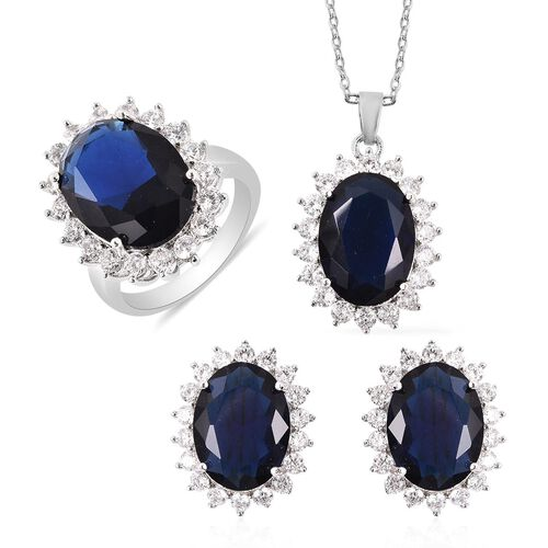 Cocktail Collection - Simulated Tanzanite Ring Earrings (with Push Back) and Pendant with Chain (Siz