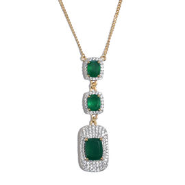 Verde Onyx (Cush 12x10 MM), Natural Cambodian Zircon Necklace (Size 18) in 14K Gold Overlay Sterling Silver 13.300 Ct. Silver wt 10.92 Gms. Number of Gemstone 133