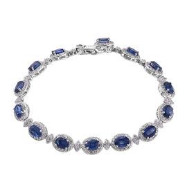 Kashmir Blue Kyanite (Ovl), Natural Cambodian Zircon Bracelet (Size 8) in Platinum Overlay Sterling Silver 20.750 Ct, Silver wt 16.03 Gms.