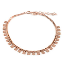 Rose Gold Overlay Sterling Silver Bracelet (Size 6.75 with 1 inch Extender)