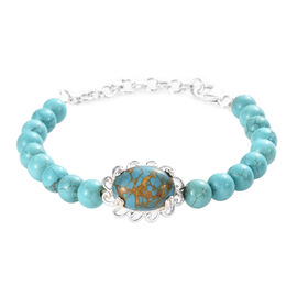 Mojave Blue Turquoise (Ovl 14x10 mm) Bead Bracelet (Size 7.5 with Extender) in Sterling Silver 40.00