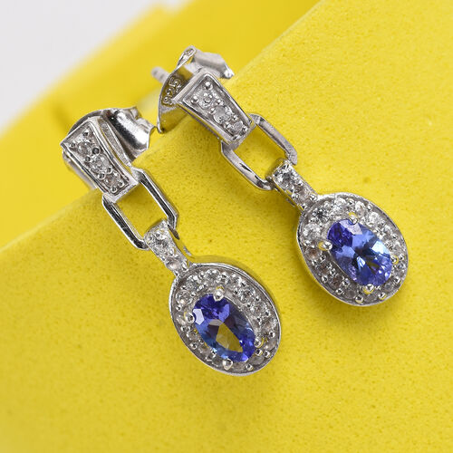 Tanzanite and Natural Cambodian Zircon Earrings (with Push Back) in Platinum Overlay Sterling Silver 1.00 Ct.