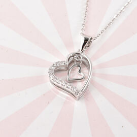 Simulated Diamond Heart Shape Pendant with Chain (Size 18) in Rhodium Overlay Sterling Silver