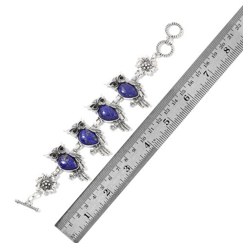 2 Piece Set - Lapis Lazuli and Black Austrian Crystal Owl Bracelet (Size 7.5) and Hook Earrings 75.00 Ct.