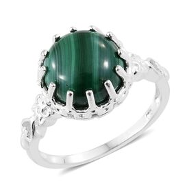 Malachite (Rnd) Ring in Sterling Silver 11.000 Ct. Silver wt 3.90 Gms.