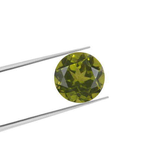 AA Peridot Round 10.12x7.39 Faceted 4.25 Cts