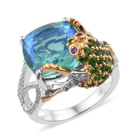 GP Peacock Quartz (Cush 12x12 mm), Multi Gemstone Frog Ring in Platinum and Yellow Gold Overlay Sterling Silver 8.250 Ct, Silver wt 5.70 Gms