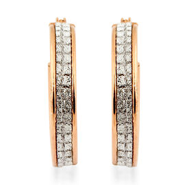 NEW YORK DESIGNER CLOSE OUT DEAL - Simulated Diamond Rose Gold Overlay Sterling Silver Glitter Creol
