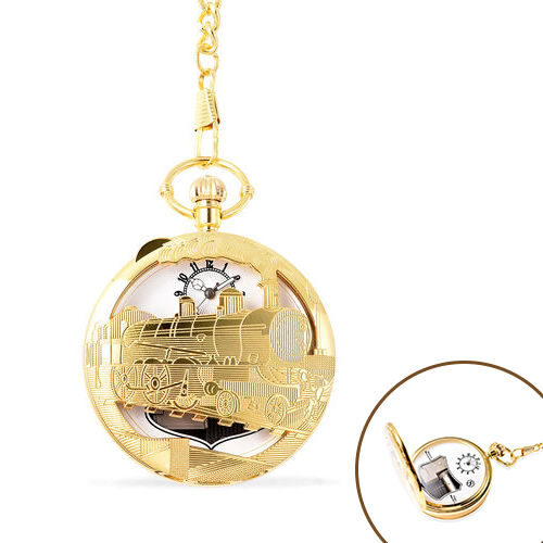 STRADA Japanese Movement Train Pattern Water Resistant Music Pocket Watch with Chain (Size 14) in Ye