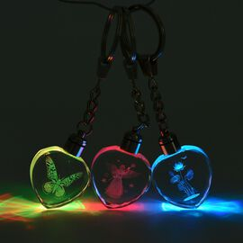 3 Piece Set- Butterfly, Flower, Angel Pattern Crystal LED Keychains (Size 3x3x1 Cm) - Octagon Shape
